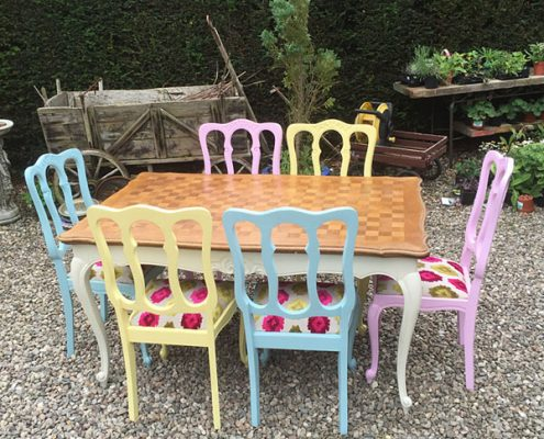 French Oak Harlequin Painted Dining Suite